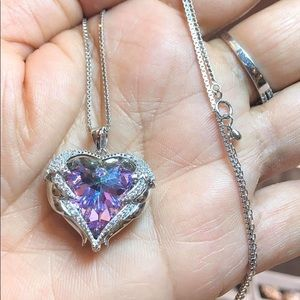 Jewelry - Heart Shape Necklace with Amethyst Crystal
